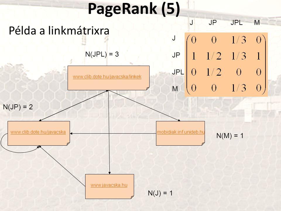 PageRank (5) Példa a linkmátrixra www.clib.dote.hu/javacska www.javacska.hu mobidiak.inf.unideb.hu www.clib.dote.hu/javacska/linkek N(JPL) = 3 N(M) =