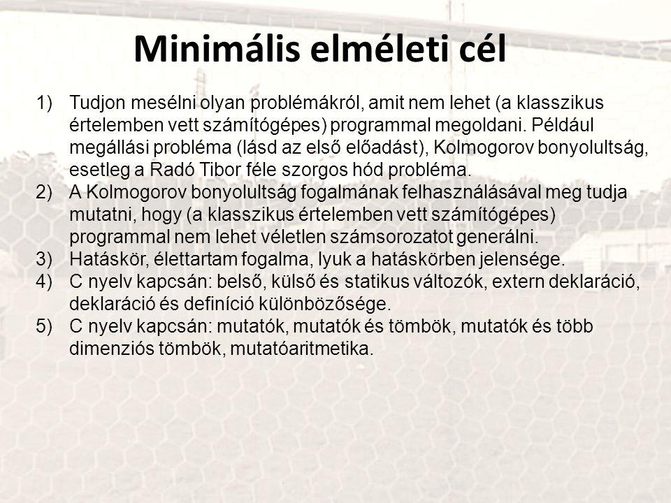 Minimális elméleti cél 1)Tudjon mesélni olyan problémákról, amit nem lehet (a klasszikus értelemben vett számítógépes) programmal megoldani. Például m