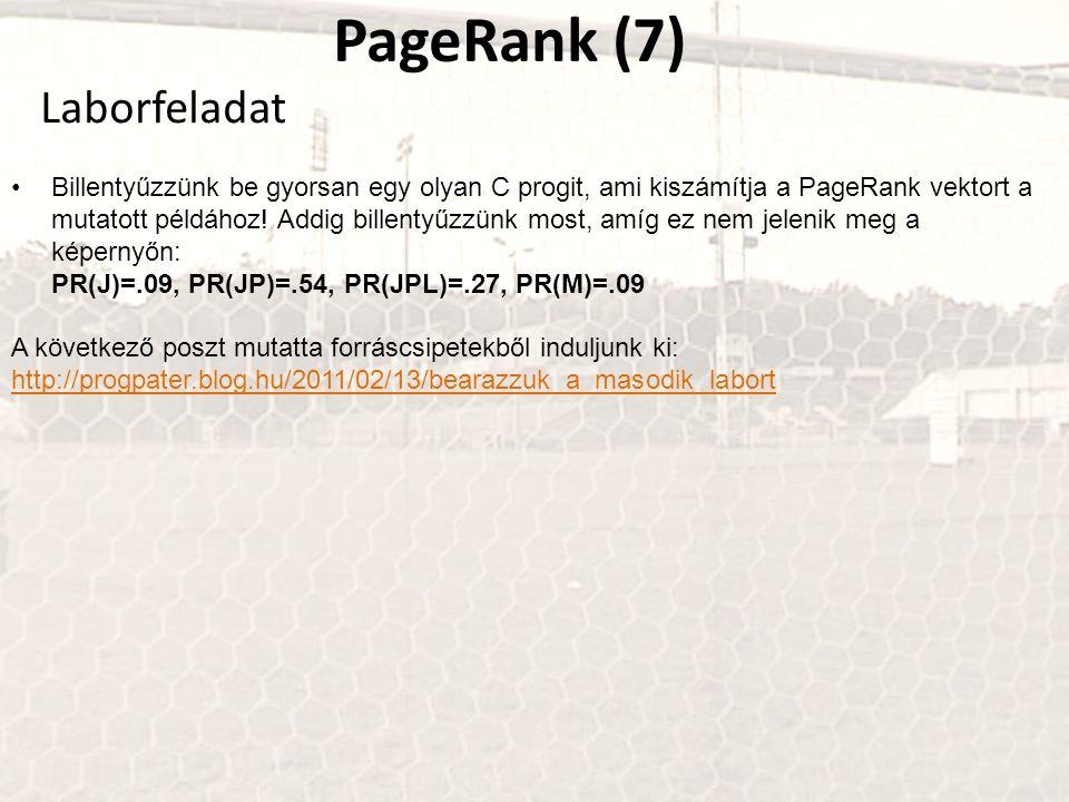 PageRank (7) Billentyűzzünk be gyorsan egy olyan C progit, ami kiszámítja a PageRank vektort a mutatott példához! Addig billentyűzzünk most, amíg ez n