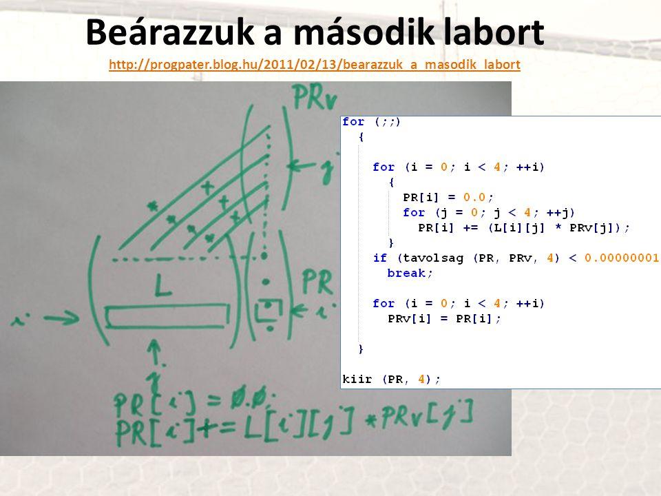 Beárazzuk a második labort http://progpater.blog.hu/2011/02/13/bearazzuk_a_masodik_labort http://progpater.blog.hu/2011/02/13/bearazzuk_a_masodik_labo