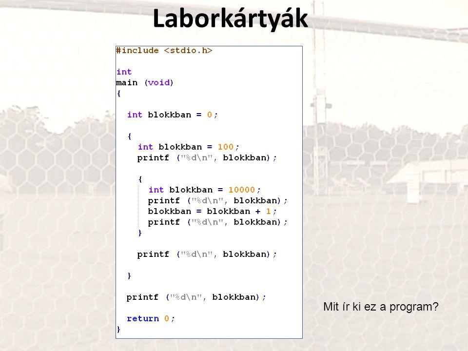 Laborkártyák Mit ír ki ez a program?