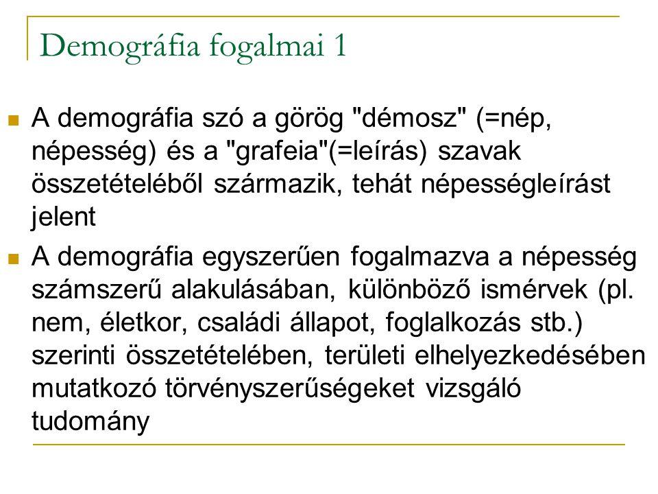 Demográfia fogalmai 1 A demográfia szó a görög