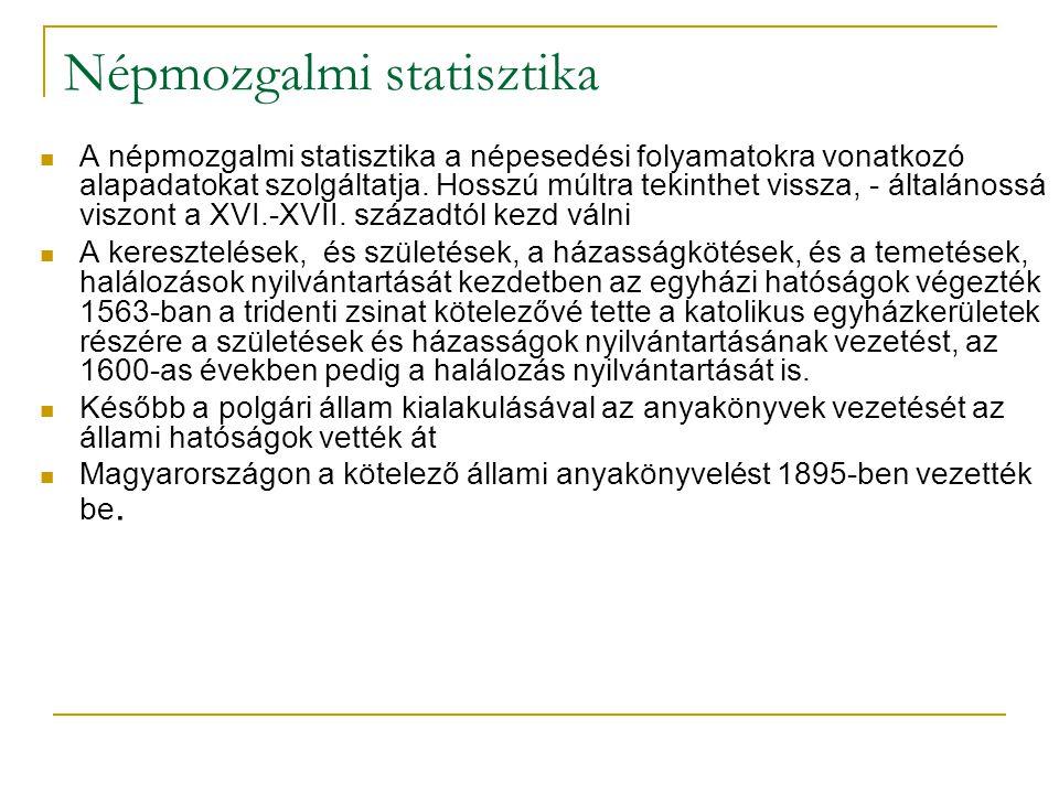 Népmozgalmi statisztika A népmozgalmi statisztika a népesedési folyamatokra vonatkozó alapadatokat szolgáltatja. Hosszú múltra tekinthet vissza, - ált