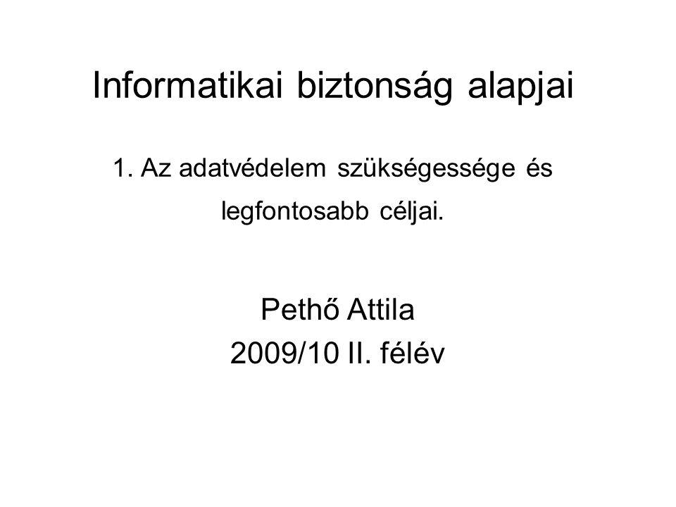 Informatikai biztonság alapjai 1. Az adatvédelem szükségessége és legfontosabb céljai. Pethő Attila 2009/10 II. félév