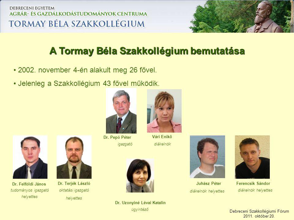 Debreceni Szakkollégiumi Fórum 2011. október 20. 2002. november 4-én alakult meg 26 fővel. Jelenleg a Szakkollégium 43 fővel működik. A Tormay Béla Sz