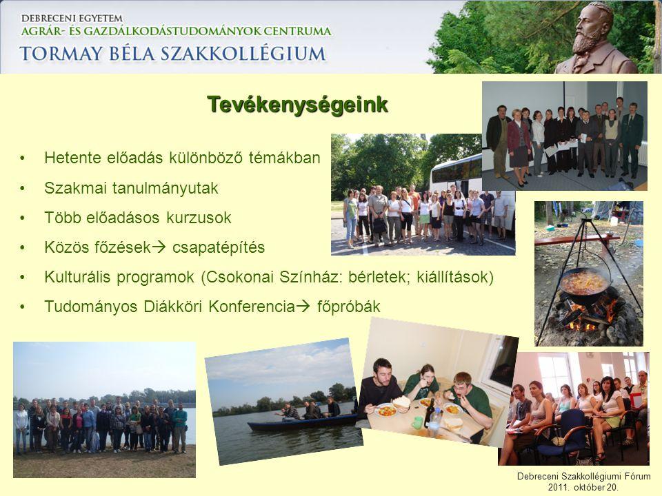 Debreceni Szakkollégiumi Fórum 2011. október 20. Tevékenységeink Hetente előadás különböző témákban Szakmai tanulmányutak Több előadásos kurzusok Közö