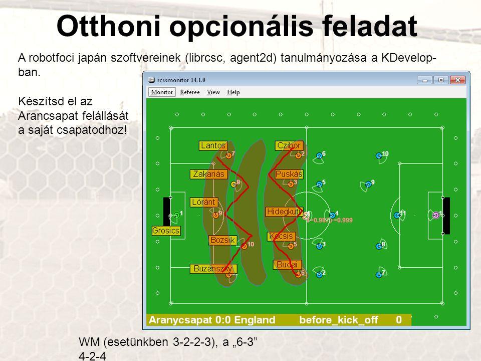 Otthoni opcionális feladat A robotfoci japán szoftvereinek (librcsc, agent2d) tanulmányozása a KDevelop- ban. Készítsd el az Arancsapat felállását a s