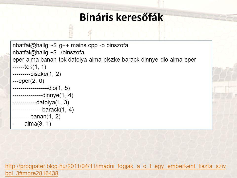 Bináris keresőfák http://progpater.blog.hu/2011/04/11/imadni_fogjak_a_c_t_egy_emberkent_tiszta_sziv bol_3#more2816438 nbatfai@hallg:~$ g++ mains.cpp -