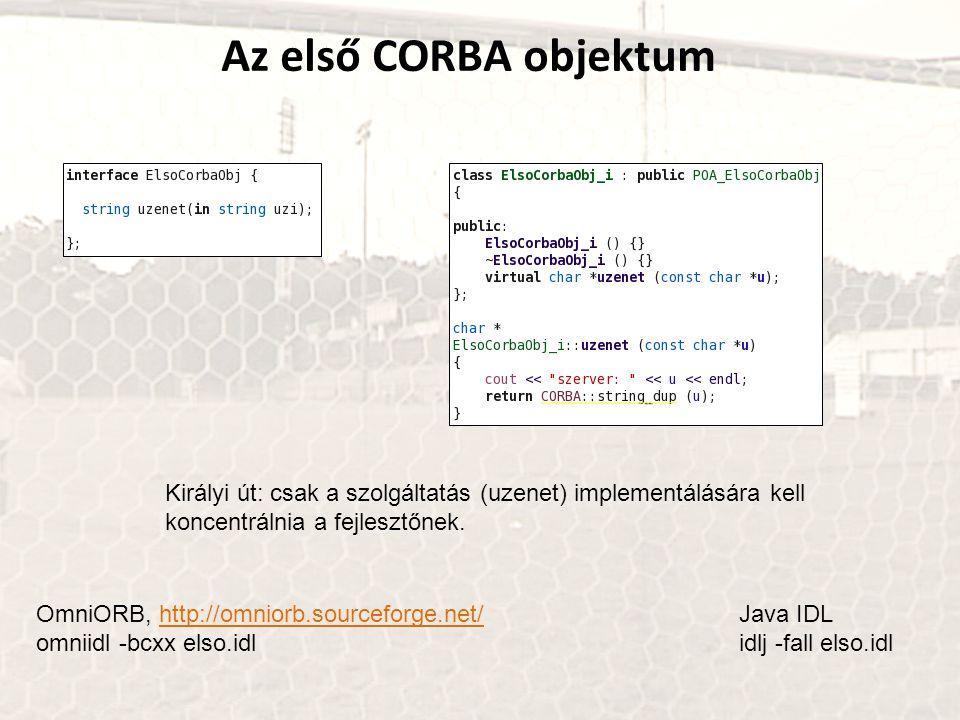 Az első CORBA objektum Királyi út: csak a szolgáltatás (uzenet) implementálására kell koncentrálnia a fejlesztőnek. OmniORB, http://omniorb.sourceforg