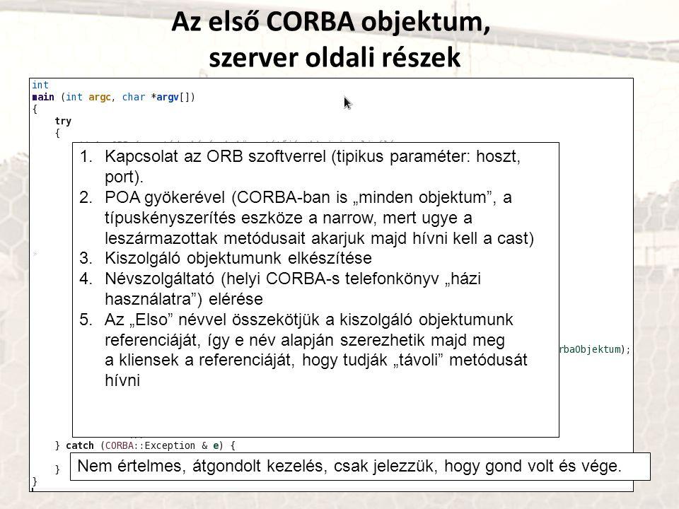 """Az első CORBA objektum, szerver oldali részek 1.Kapcsolat az ORB szoftverrel (tipikus paraméter: hoszt, port). 2.POA gyökerével (CORBA-ban is """"minden"""