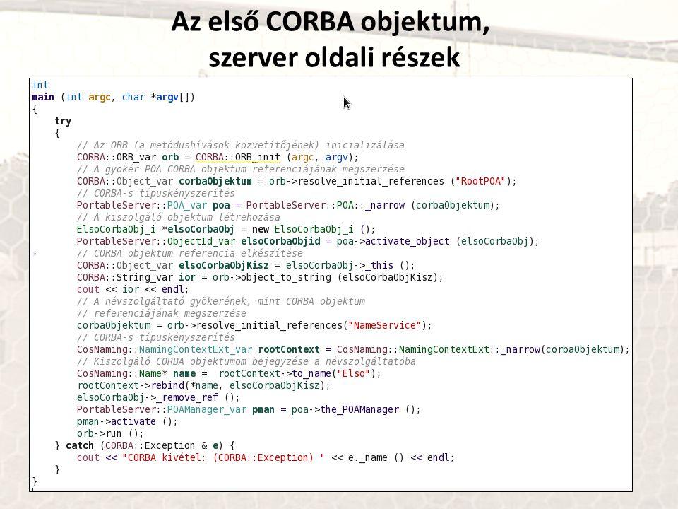 Az első CORBA objektum, szerver oldali részek