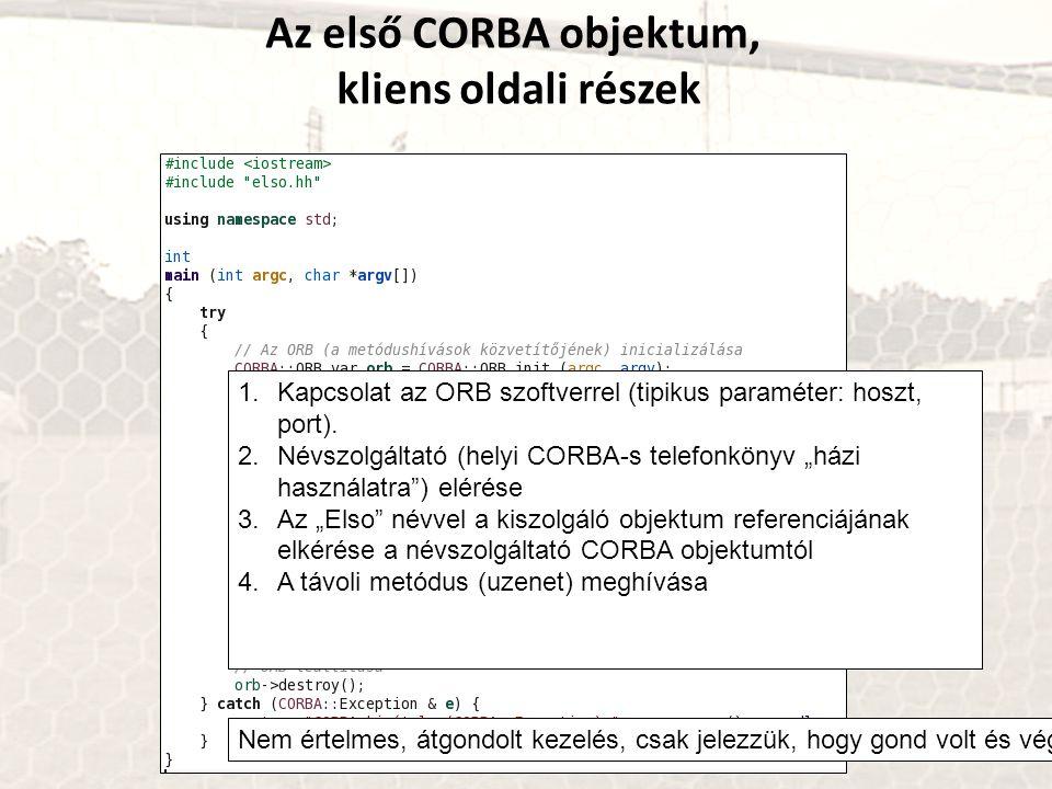 Az első CORBA objektum, kliens oldali részek 1.Kapcsolat az ORB szoftverrel (tipikus paraméter: hoszt, port). 2.Névszolgáltató (helyi CORBA-s telefonk