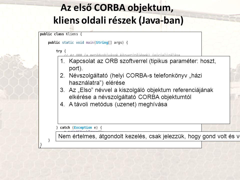 Az első CORBA objektum, kliens oldali részek (Java-ban) 1.Kapcsolat az ORB szoftverrel (tipikus paraméter: hoszt, port). 2.Névszolgáltató (helyi CORBA