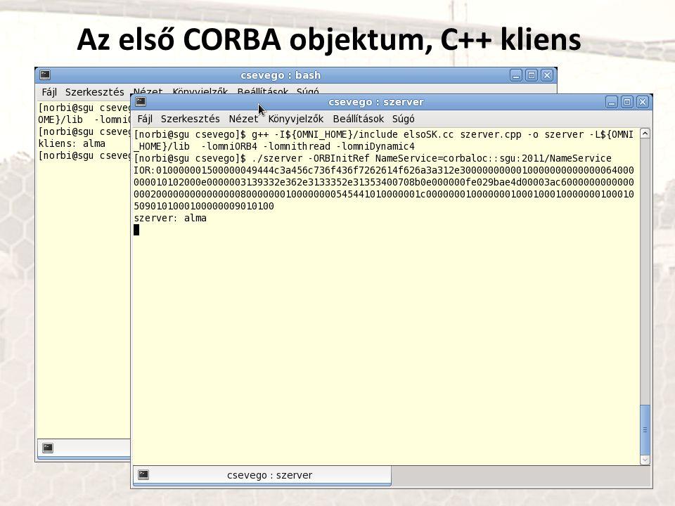 Az első CORBA objektum, C++ kliens