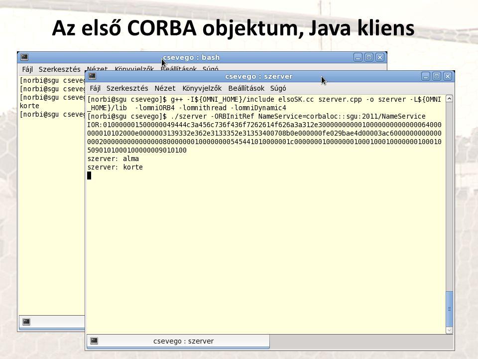 Az első CORBA objektum, Java kliens