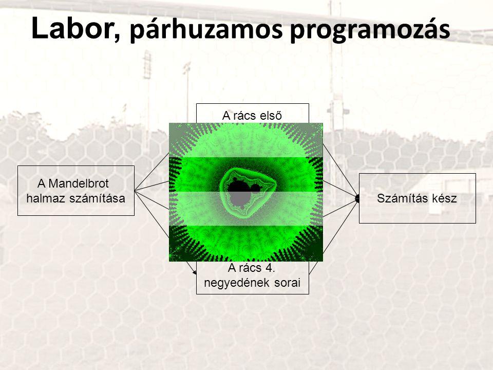 Labor, párhuzamos programozás A Mandelbrot halmaz számítása A rács első negyedének sorai A rács 2. negyedének sorai A rács 3. negyedének sorai A rács