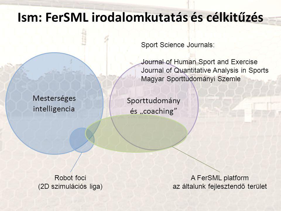"""Ism: FerSML irodalomkutatás és célkitűzés Mesterséges intelligencia Sporttudomány és """"coaching"""" Robot foci (2D szimulációs liga) A FerSML platform az"""