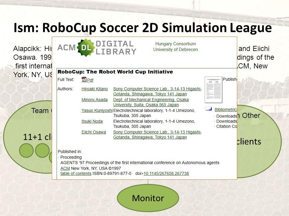 Szerver Ism: RoboCup Soccer 2D Simulation League Alapcikk: Hiroaki Kitano, Minoru Asada, Yasuo Kuniyoshi, Itsuki Noda, and Eiichi Osawa. 1997. RoboCup