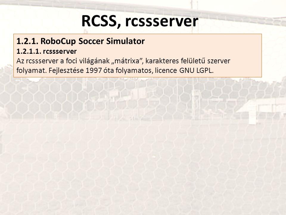 """RCSS, rcssserver 1.2.1. RoboCup Soccer Simulator 1.2.1.1. rcssserver Az rcssserver a foci világának """"mátrixa"""", karakteres felületű szerver folyamat. F"""