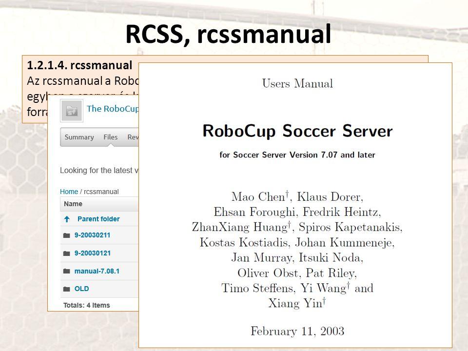 RCSS, rcssmanual 1.2.1.4. rcssmanual Az rcssmanual a RoboCup Soccer Simulator felhasználói kézikönyve, s egyben a szerver és kliensei kommunikációja m