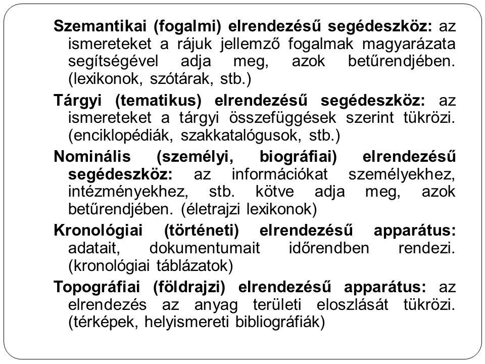Szemantikai (fogalmi) elrendezésű segédeszköz: az ismereteket a rájuk jellemző fogalmak magyarázata segítségével adja meg, azok betűrendjében. (lexiko
