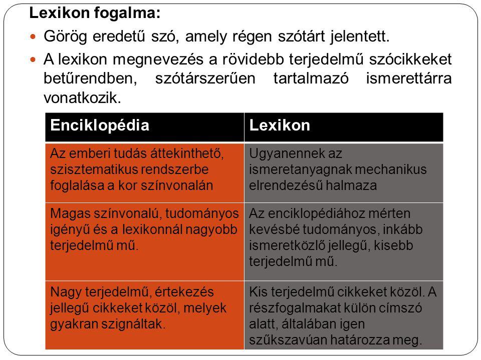 Lexikon fogalma: Görög eredetű szó, amely régen szótárt jelentett. A lexikon megnevezés a rövidebb terjedelmű szócikkeket betűrendben, szótárszerűen t