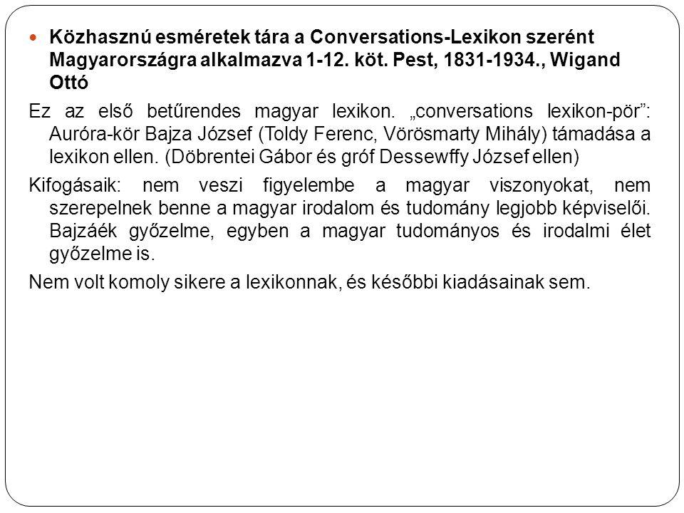 Közhasznú esméretek tára a Conversations-Lexikon szerént Magyarországra alkalmazva 1-12. köt. Pest, 1831-1934., Wigand Ottó Ez az első betűrendes magy