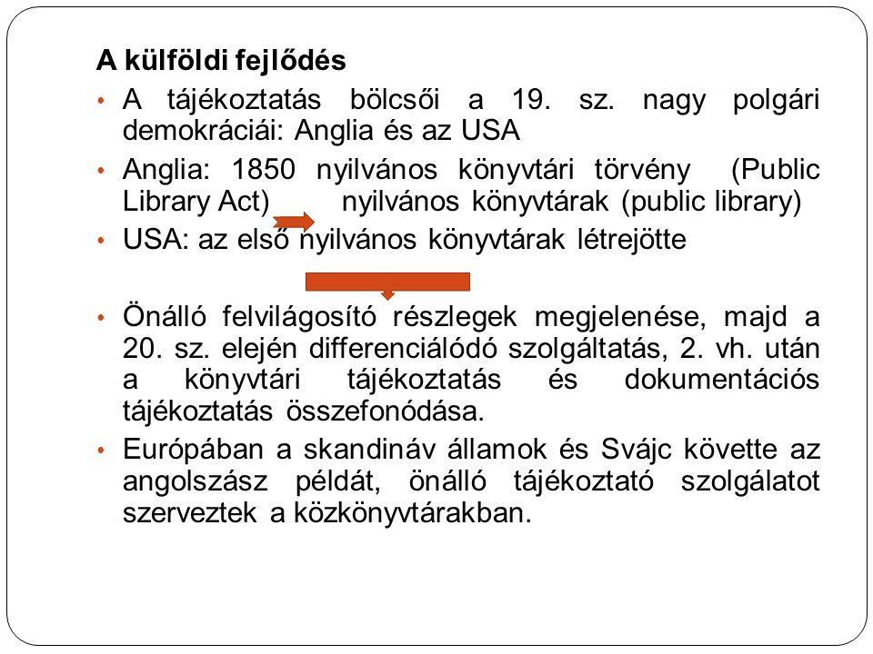 A külföldi fejlődés A tájékoztatás bölcsői a 19. sz. nagy polgári demokráciái: Anglia és az USA Anglia: 1850 nyilvános könyvtári törvény (Public Libra