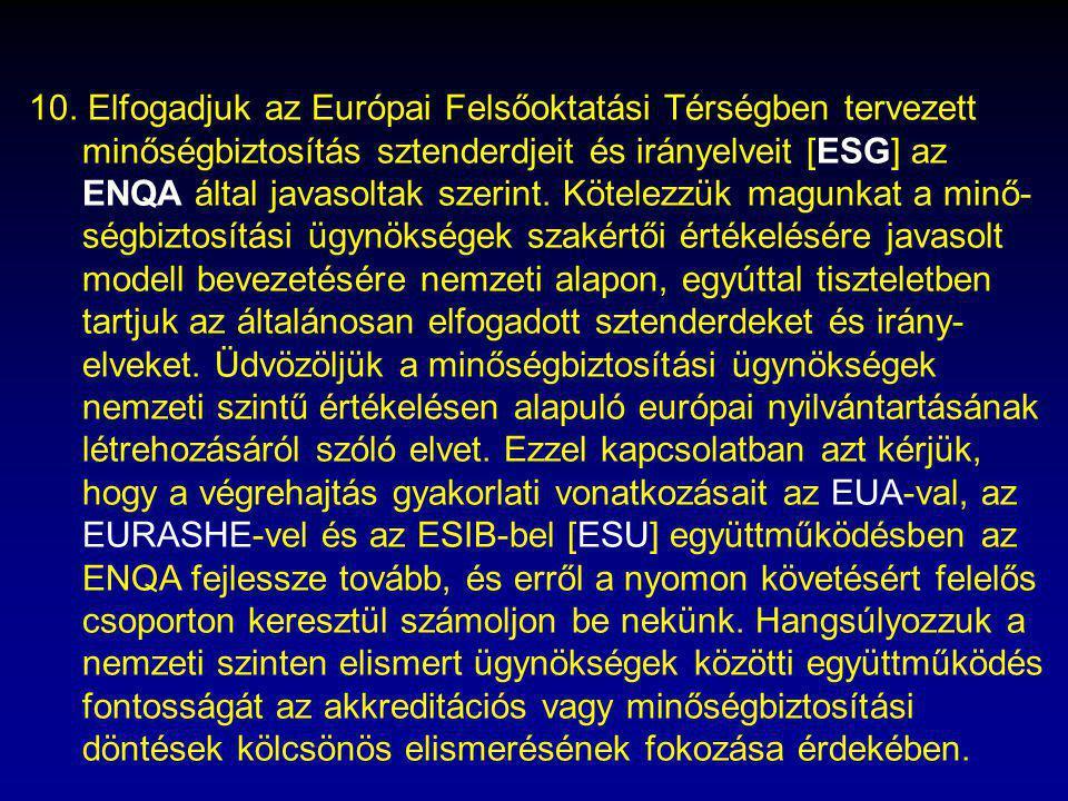10. Elfogadjuk az Európai Felsőoktatási Térségben tervezett minőségbiztosítás sztenderdjeit és irányelveit [ESG] az ENQA által javasoltak szerint. Köt