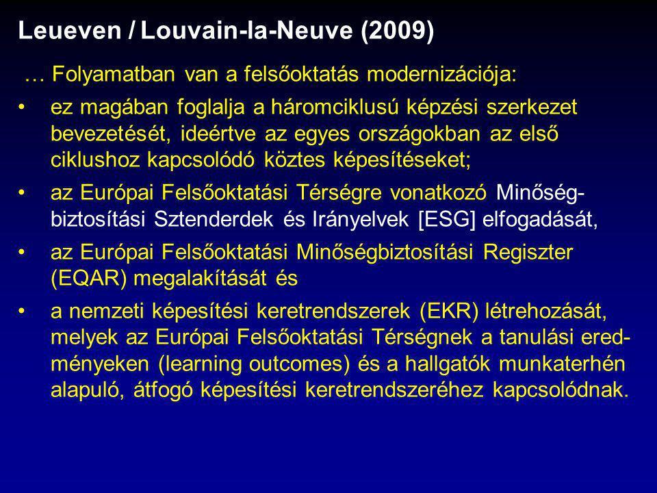 Leueven / Louvain-la-Neuve (2009) … Folyamatban van a felsőoktatás modernizációja: ez magában foglalja a háromciklusú képzési szerkezet bevezetését, ideértve az egyes országokban az első ciklushoz kapcsolódó köztes képesítéseket; az Európai Felsőoktatási Térségre vonatkozó Minőség- biztosítási Sztenderdek és Irányelvek [ESG] elfogadását, az Európai Felsőoktatási Minőségbiztosítási Regiszter (EQAR) megalakítását és a nemzeti képesítési keretrendszerek (EKR) létrehozását, melyek az Európai Felsőoktatási Térségnek a tanulási ered- ményeken (learning outcomes) és a hallgatók munkaterhén alapuló, átfogó képesítési keretrendszeréhez kapcsolódnak.