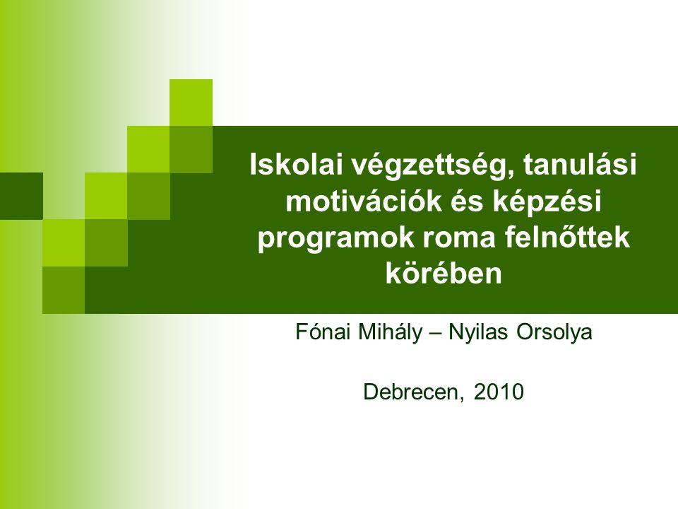 Iskolai végzettség, tanulási motivációk és képzési programok roma felnőttek körében Fónai Mihály – Nyilas Orsolya Debrecen, 2010