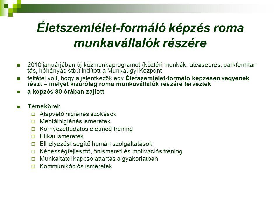 Életszemlélet-formáló képzés roma munkavállalók részére 2010 januárjában új közmunkaprogramot (köztéri munkák, utcaseprés, parkfenntar- tás, hóhányás