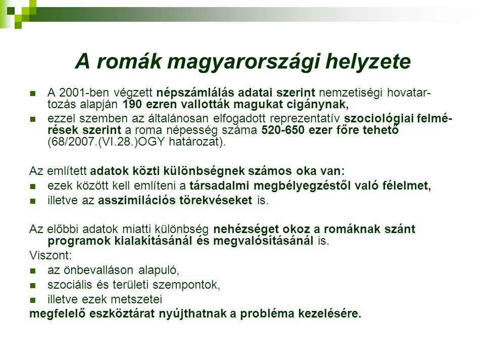 A romák magyarországi helyzete A 2001-ben végzett népszámlálás adatai szerint nemzetiségi hovatar- tozás alapján 190 ezren vallották magukat cigánynak