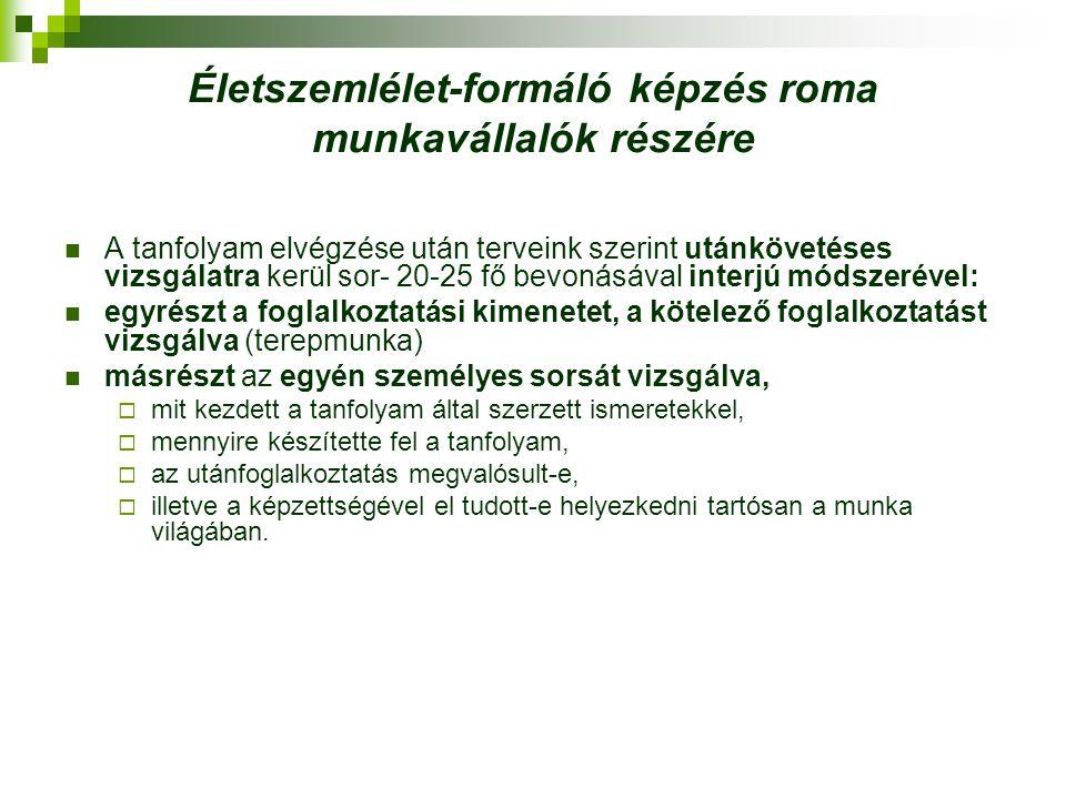 Életszemlélet-formáló képzés roma munkavállalók részére A tanfolyam elvégzése után terveink szerint utánkövetéses vizsgálatra kerül sor- 20-25 fő bevo