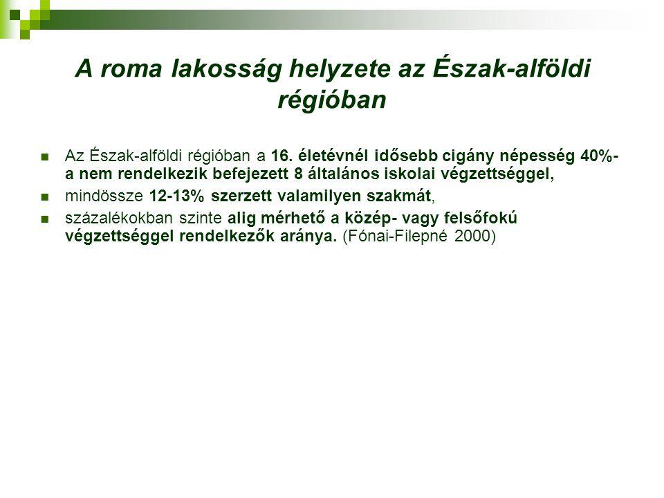 A roma lakosság helyzete az Észak-alföldi régióban A cigányság alulfoglalkoztatásának fő okait a képzettségbeli hiányosságok mellett az alábbiakra vezethetjük vissza: települési hátrányok – az apró falvakban élő romáknak legális munka- lehetőséget nem kínál a helyi munkaerőpiac, a hagyományos cigány munkaerőt foglalkoztató gazdasági ágazatokból való kiszorulás, a szegénységi csapdából eredő életviteli stratégiák – a szociálpolitikai támogatások gyakran meghaladják az adott munkajövedelmek nagyságát, így nincs motiváció a munkavállalásra, az újonnan létrejövő vállalkozások elsősorban a kvalifikált munkaerőt preferálják, folyamatosan tetten érhető, de nem bizonyítható a foglalkoztatási diszkrimináció, a munkaerőpiacról történő tartós kiszorulás, a munkavégző képességek elvesztését vagy annak kialakulatlanságát eredményezte.