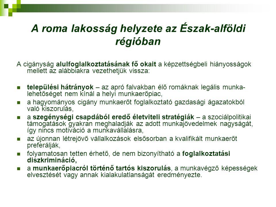 A roma lakosság helyzete az Észak-alföldi régióban A roma munkavállalókra jellemző,  hogy többségükben alulkvalifikált vagy segédmunkát végeznek,  az esetek többségében csak alkalmi vagy szezonális jelleggel, ami nem biztosít komolyabb és folyamatos jövedelmet.
