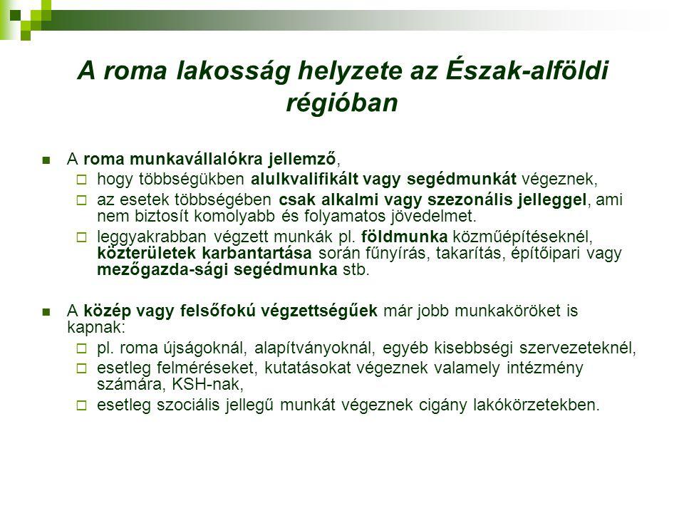 A roma lakosság helyzete az Észak-alföldi régióban A roma munkavállalókra jellemző,  hogy többségükben alulkvalifikált vagy segédmunkát végeznek,  a