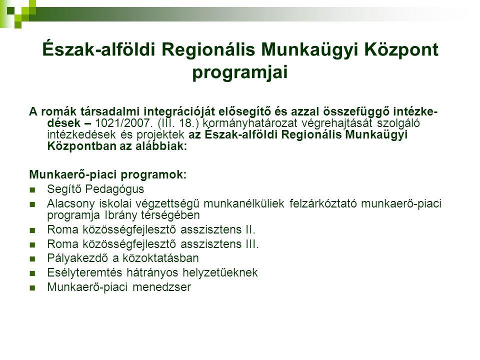 Észak-alföldi Regionális Munkaügyi Központ programjai A romák társadalmi integrációját elősegítő és azzal összefüggő intézke- dések – 1021/2007. (III.