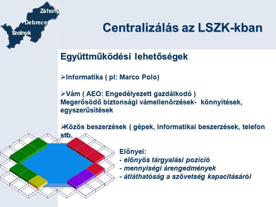 Centralizálás az LSZK-kban Együttműködési lehetőségek  Informatika ( pl: Marco Polo)  Vám ( AEO: Engedélyezett gazdálkodó ) Megerősödő biztonsági vá