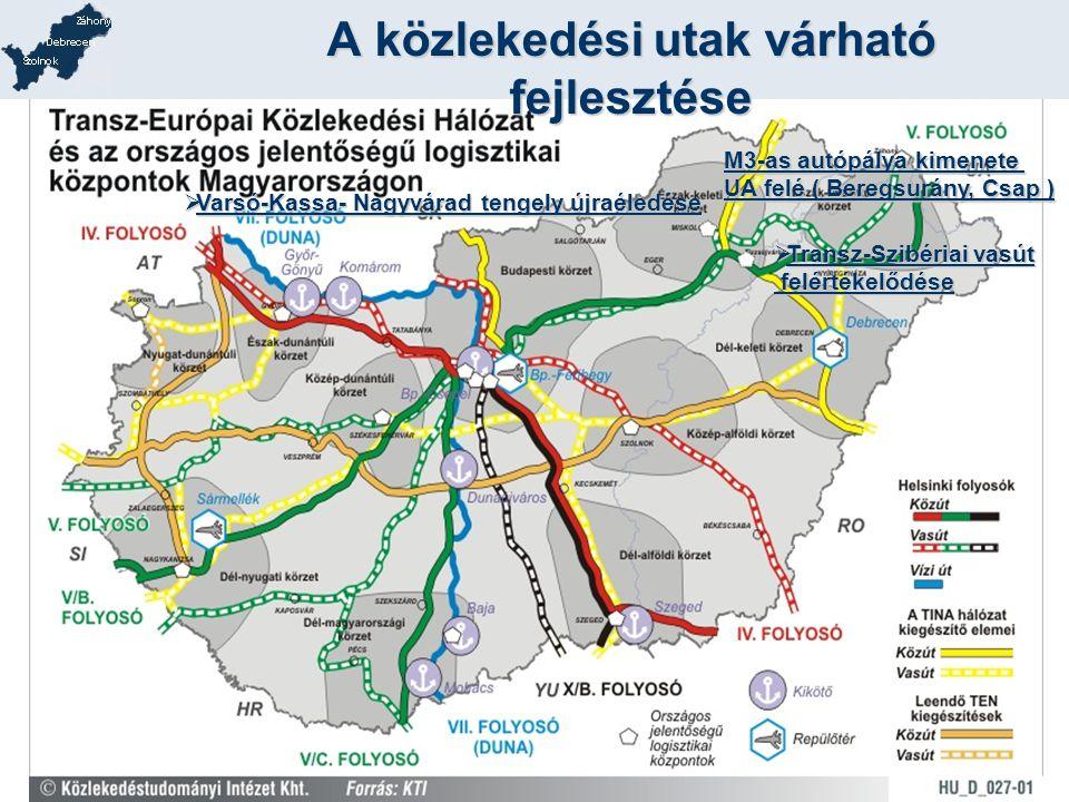 A közlekedési utak várható fejlesztése  Varsó-Kassa- Nagyvárad tengely újraéledése  Transz-Szibériai vasút felértékelődése felértékelődése M3-as aut