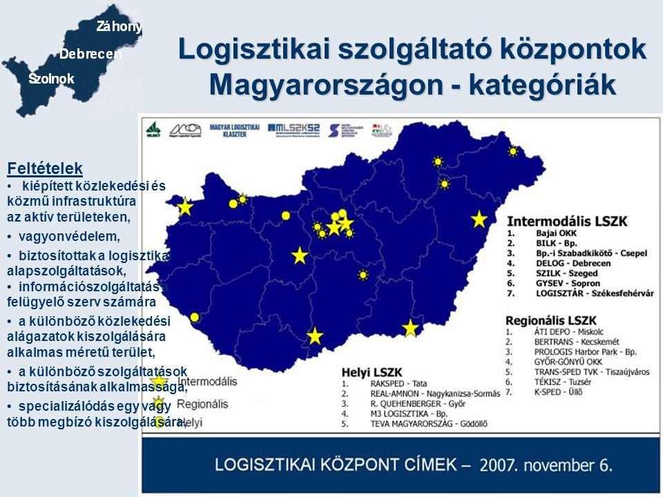 Logisztikai szolgáltató központok Magyarországon - kategóriák Feltételek kiépített közlekedési és közmű infrastruktúra az aktív területeken, vagyonvéd