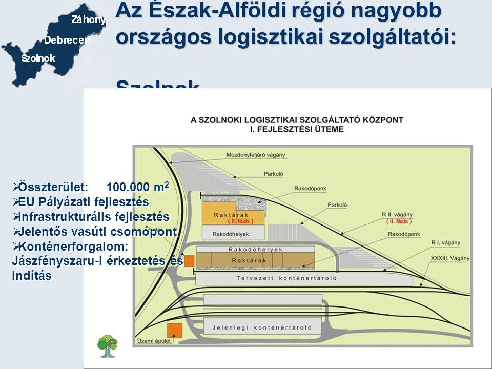 Az Észak-Alföldi régió nagyobb országos logisztikai szolgáltatói: Szolnok  Összterület: 100.000 m 2  EU Pályázati fejlesztés  Infrastrukturális fej