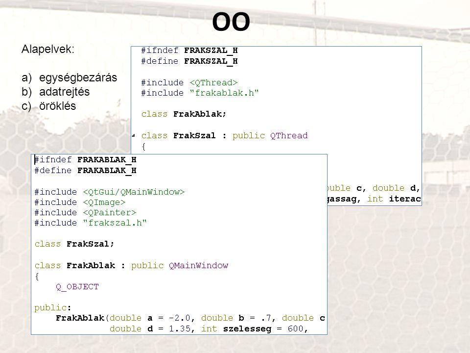 OO Alapelvek: a)egységbezárás b)adatrejtés c)öröklés