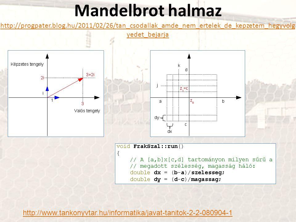 Mandelbrot halmaz http://progpater.blog.hu/2011/02/26/tan_csodallak_amde_nem_ertelek_de_kepzetem_hegyvolg yedet_bejarja http://progpater.blog.hu/2011/