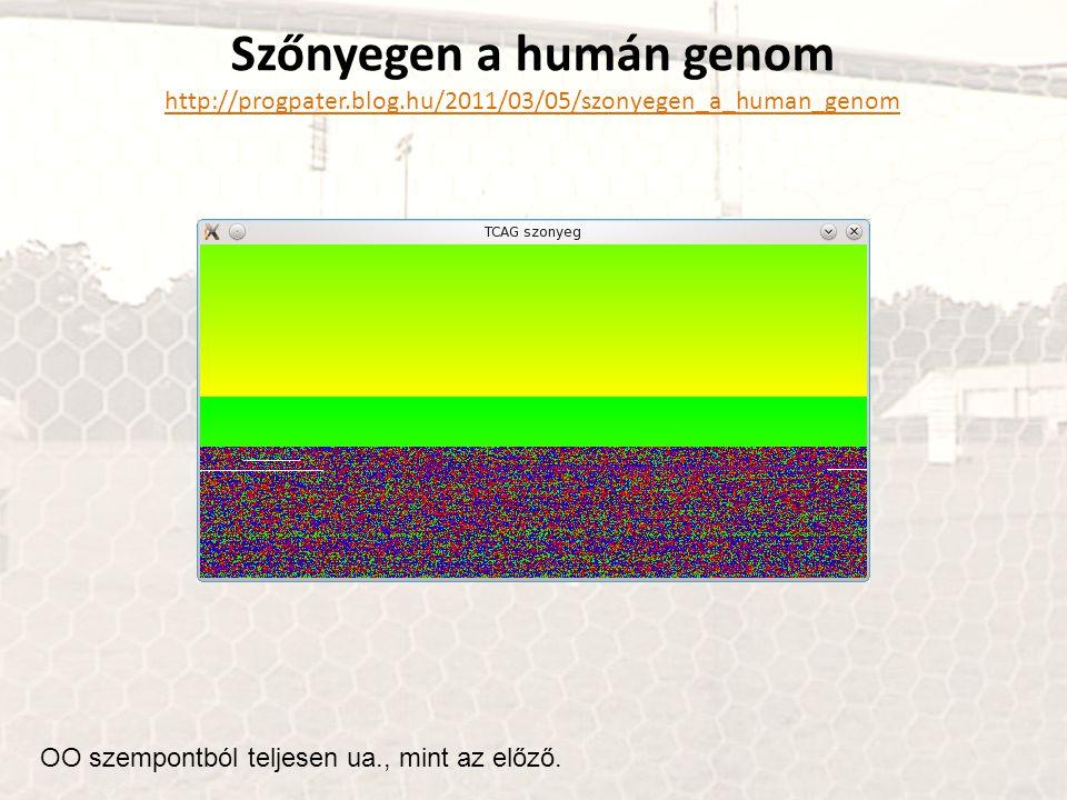Szőnyegen a humán genom http://progpater.blog.hu/2011/03/05/szonyegen_a_human_genom OO szempontból teljesen ua., mint az előző.