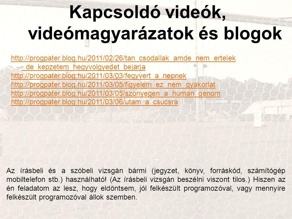 Kapcsoldó videók, videómagyarázatok és blogok http://progpater.blog.hu/2011/02/26/tan_csodallak_amde_nem_ertelek _de_kepzetem_hegyvolgyedet_bejarja http://progpater.blog.hu/2011/03/03/fegyvert_a_nepnek http://progpater.blog.hu/2011/03/05/figyelem_ez_nem_gyakorlat http://progpater.blog.hu/2011/03/05/szonyegen_a_human_genom http://progpater.blog.hu/2011/03/06/utam_a_csucsra Az írásbeli és a szóbeli vizsgán bármi (jegyzet, könyv, forráskód, számítógép mobiltelefon stb.) használható.