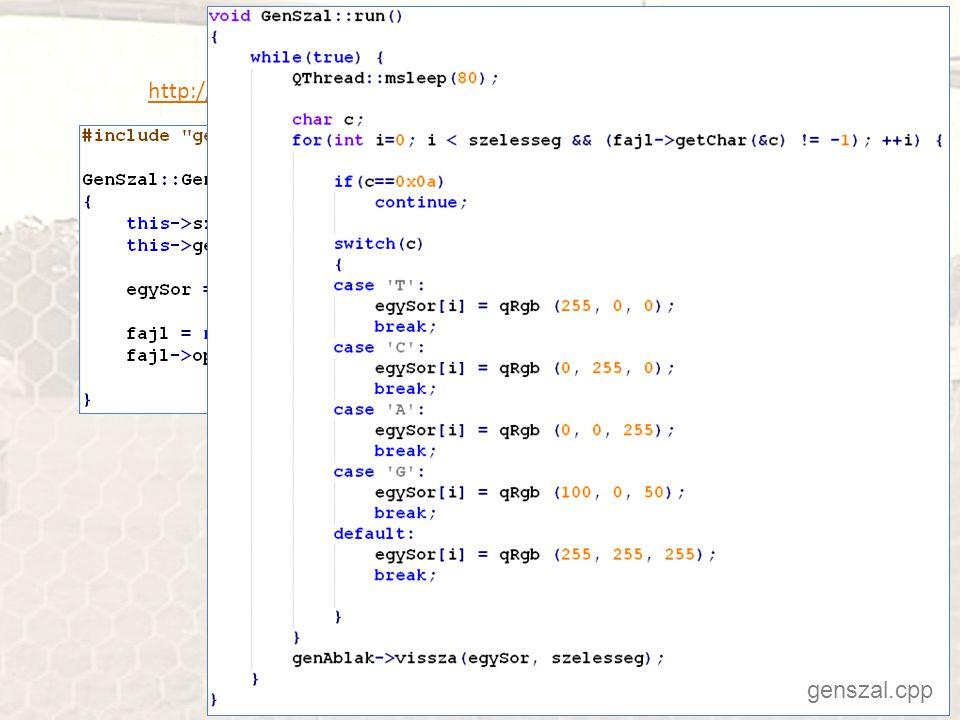 Szőnyegen a humán genom http://progpater.blog.hu/2011/03/05/szonyegen_a_human_genom genszal.cpp