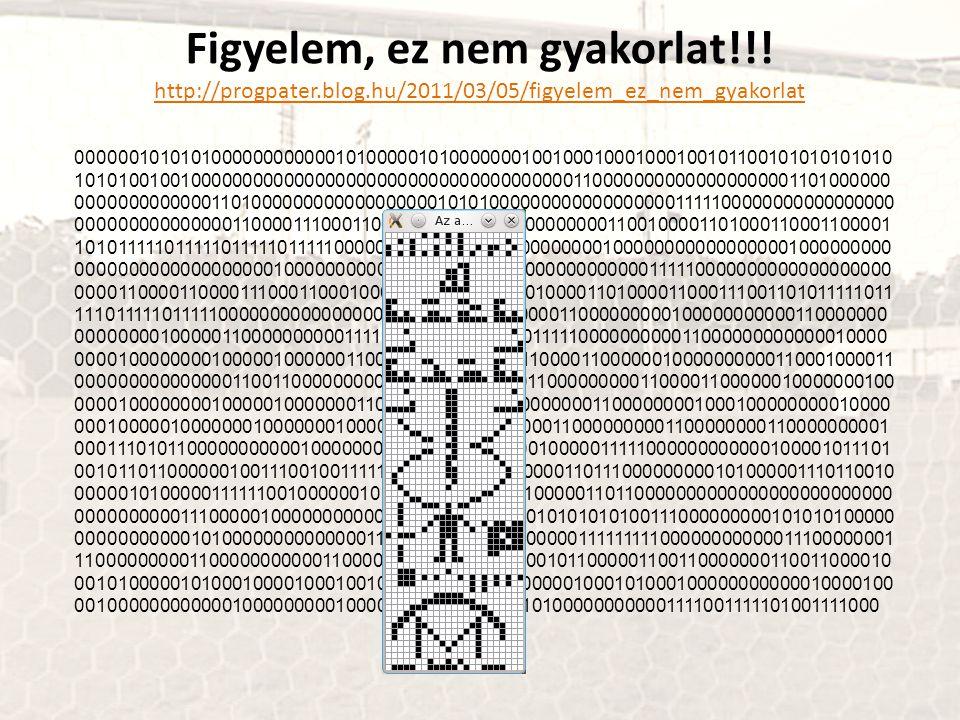 Figyelem, ez nem gyakorlat!!! http://progpater.blog.hu/2011/03/05/figyelem_ez_nem_gyakorlat 0000001010101000000000000101000001010000000100100010001000