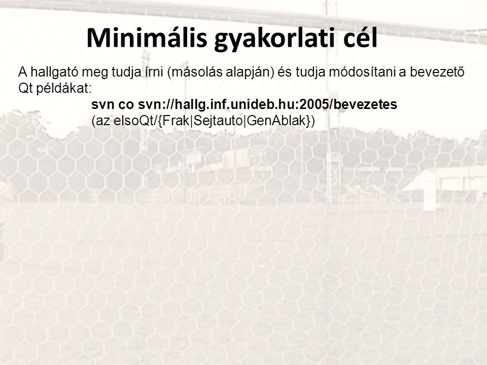 Minimális gyakorlati cél A hallgató meg tudja írni (másolás alapján) és tudja módosítani a bevezető Qt példákat: svn co svn://hallg.inf.unideb.hu:2005