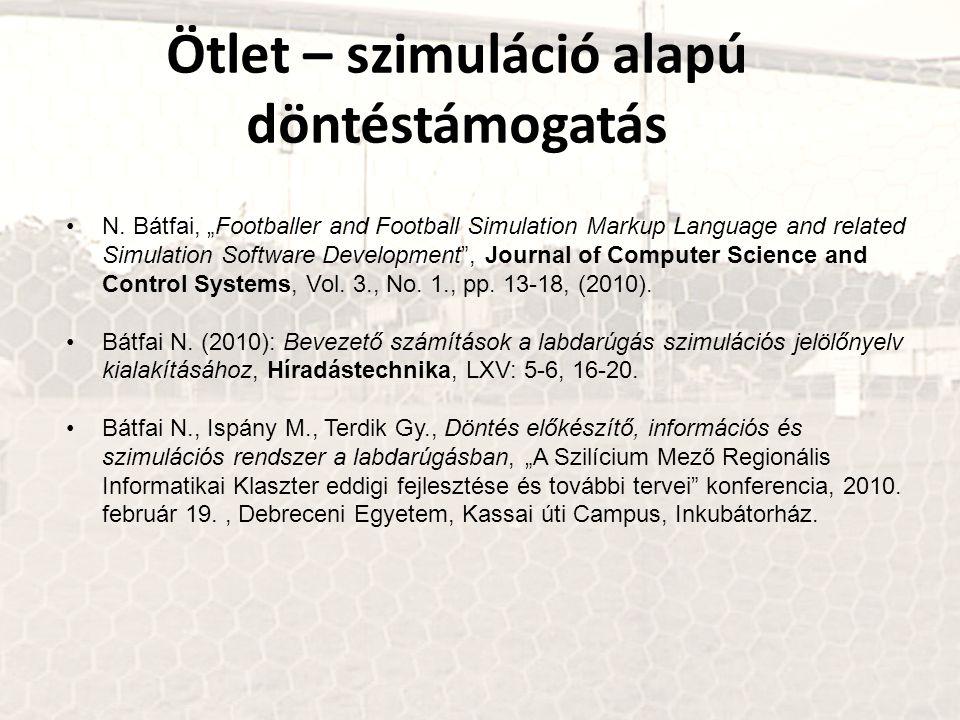 """Ötlet – szimuláció alapú döntéstámogatás N. Bátfai, """"Footballer and Football Simulation Markup Language and related Simulation Software Development"""","""